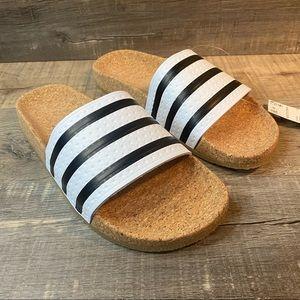 Adidas Adilette Cork Slides White Black